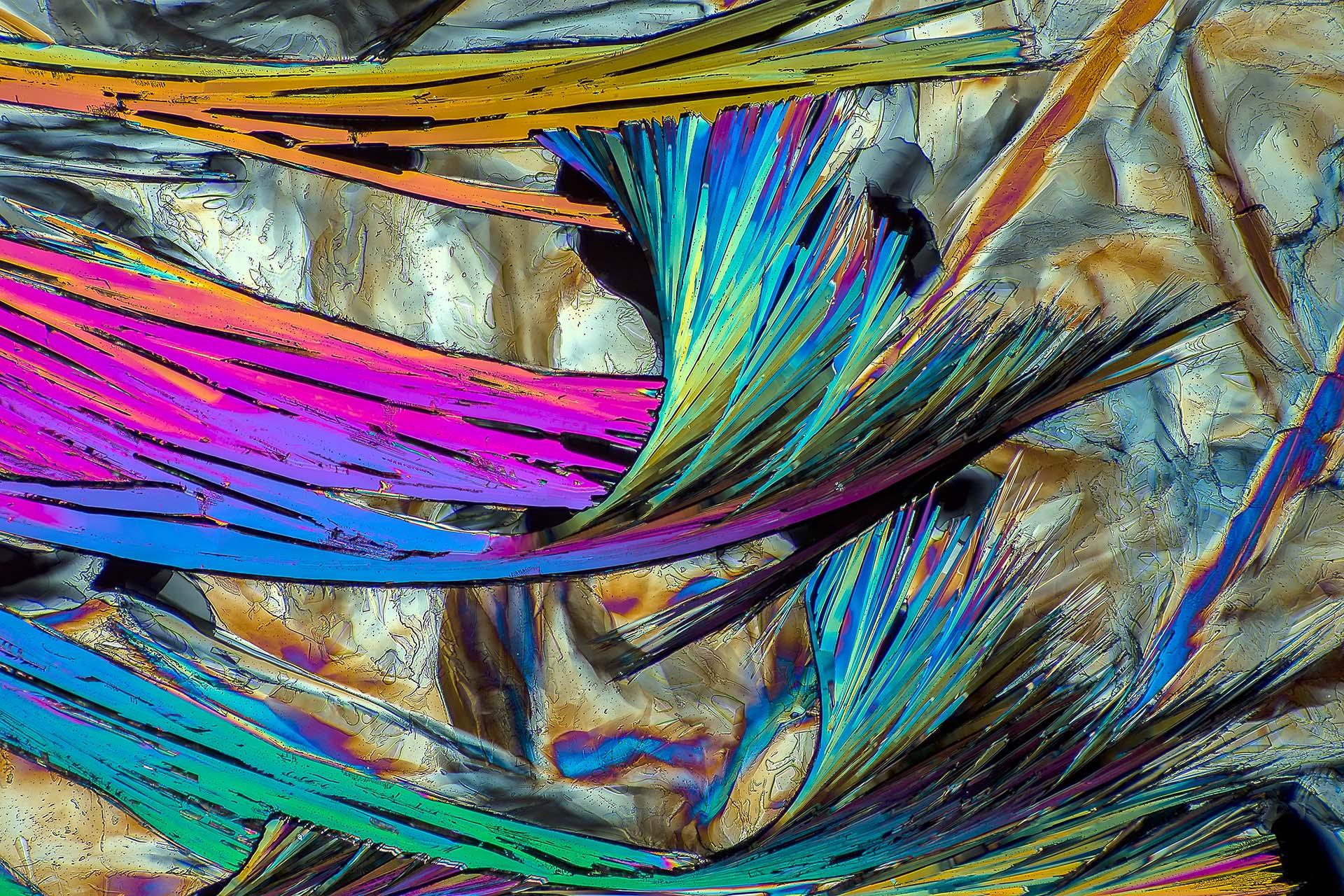 Laurinsäure in einer Vergrößerung von 120:1, Mikro Kristall im polarisierten Licht.