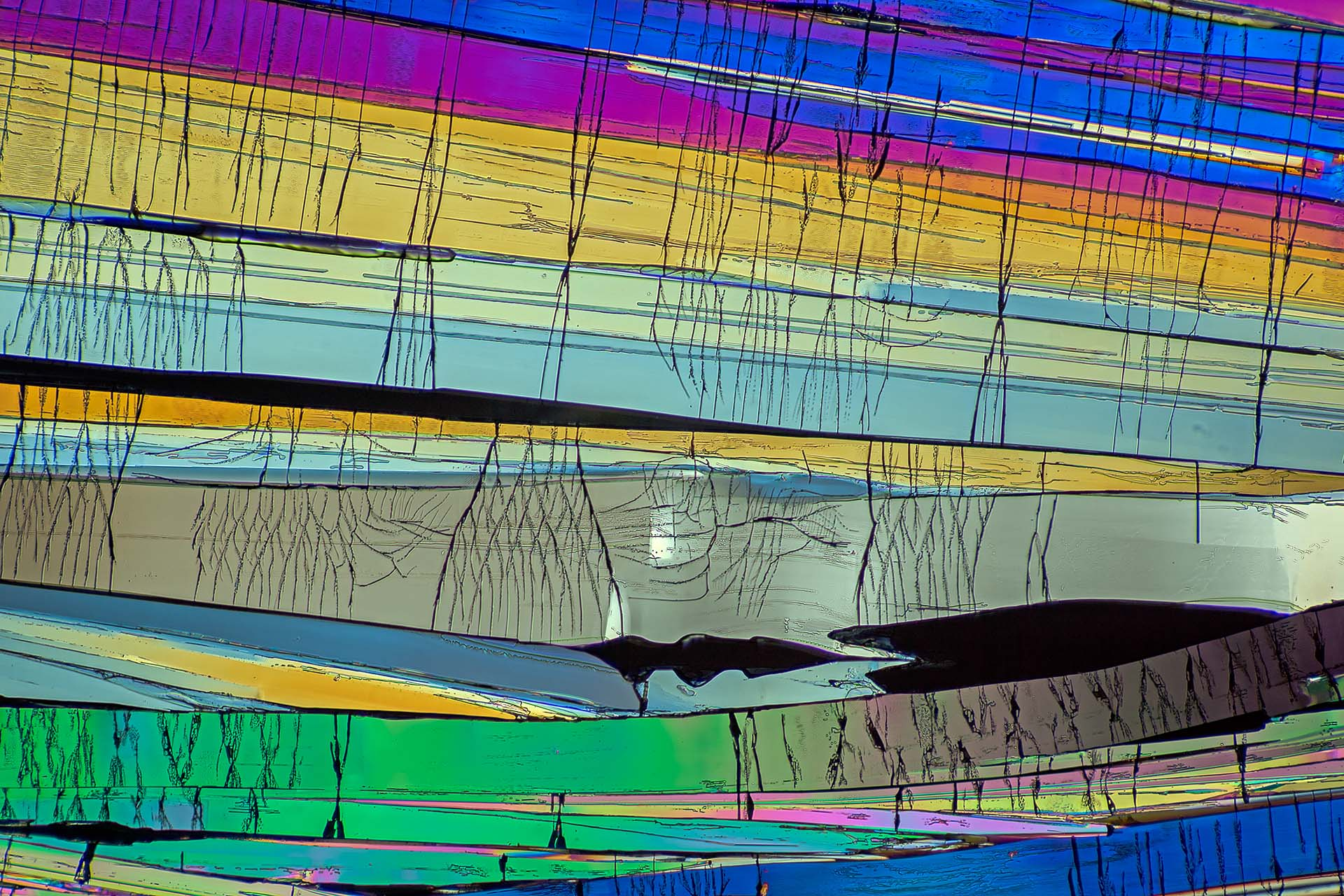 Benzoesäure in einer Vergrößerung von 120:1, Mikro Kristall im polarisierten Licht.