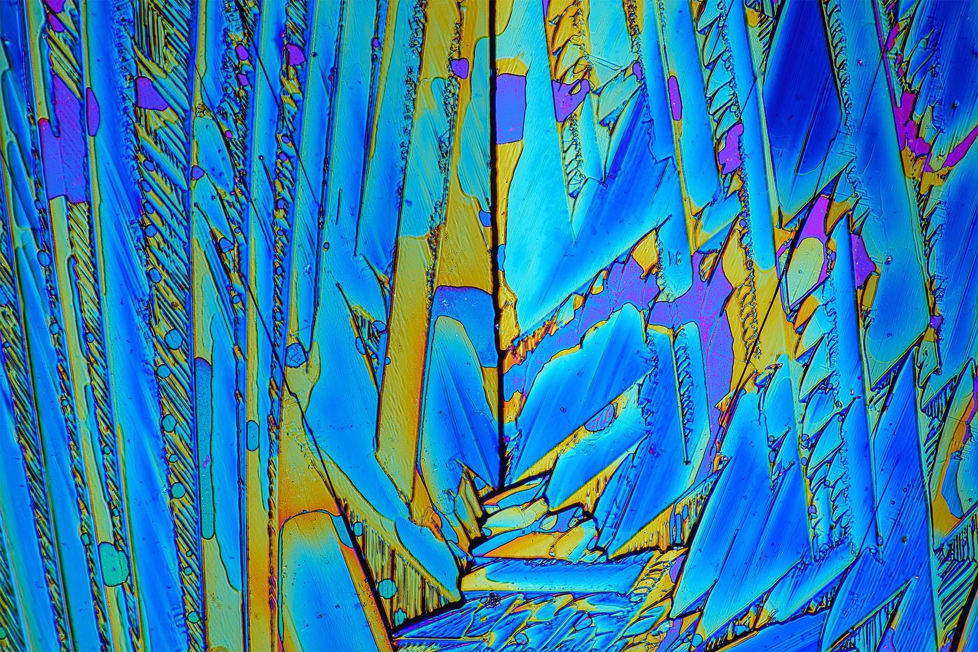 Urea/Harnstoff in einer Vergrößerung von 120:1, Mikro Kristall im polarisierten Licht.