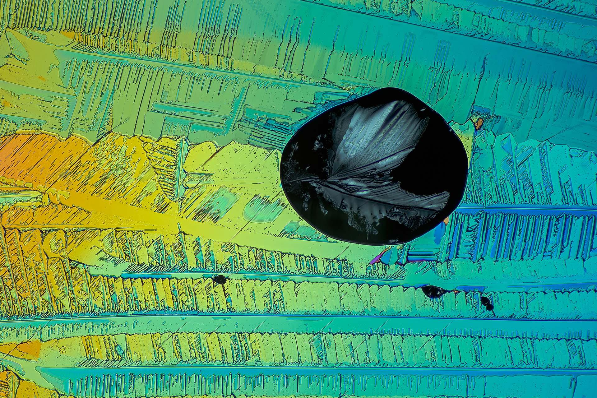 Adipinsäure in einer Vergrößerung von 120:1, Mikro Kristall im polarisierten Licht.