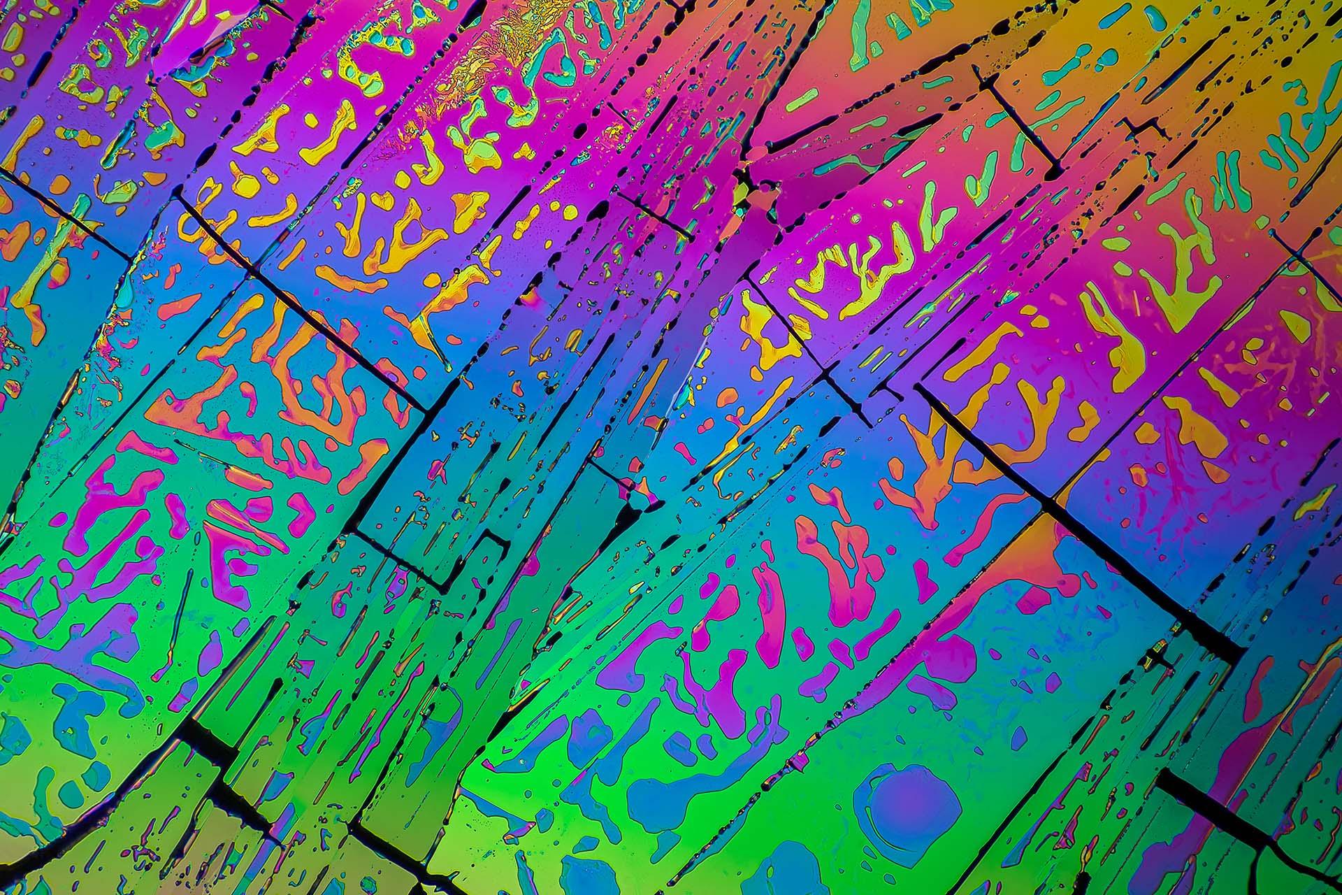 Oxalsäure in einer Vergrößerung von 120:1, Mikro Kristall im polarisierten Licht.