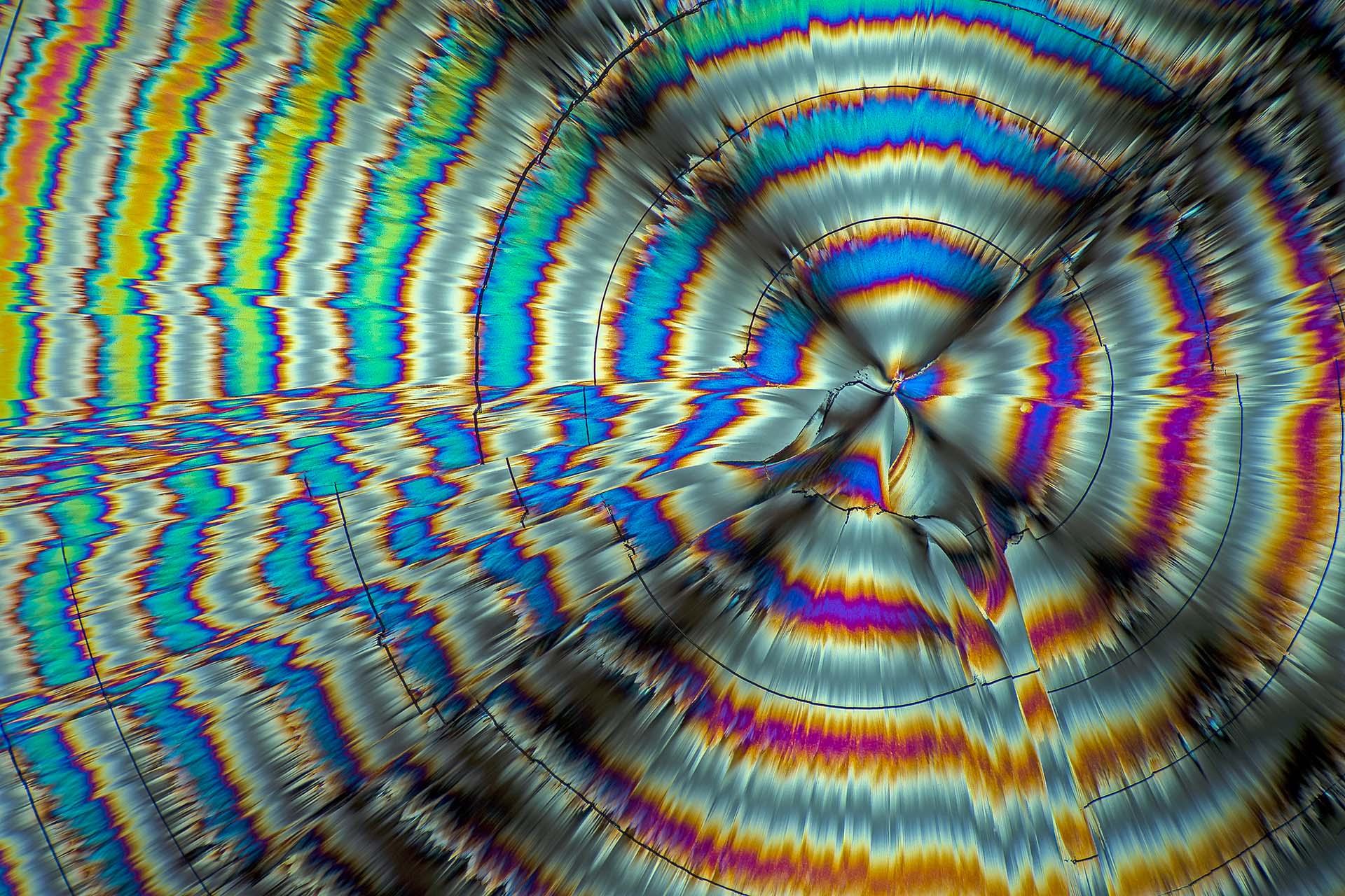 Glutaminsäure in einer Vergrößerung von 120:1, Mikro Kristall im polarisierten Licht.
