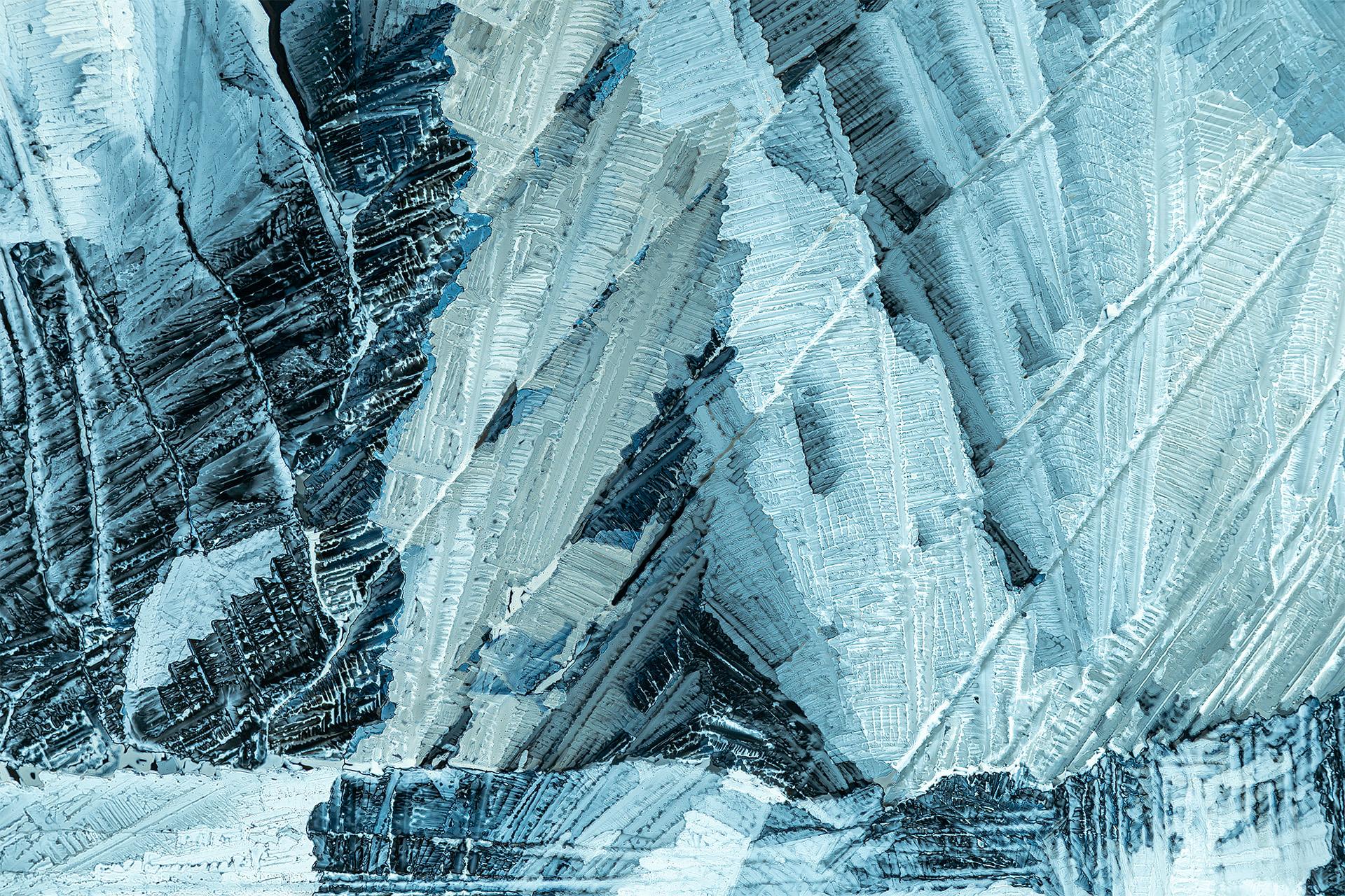 Natriumhydrogensulfat in einer Vergrößerung von 250:1, Mikro Kristall im polarisierten Licht.