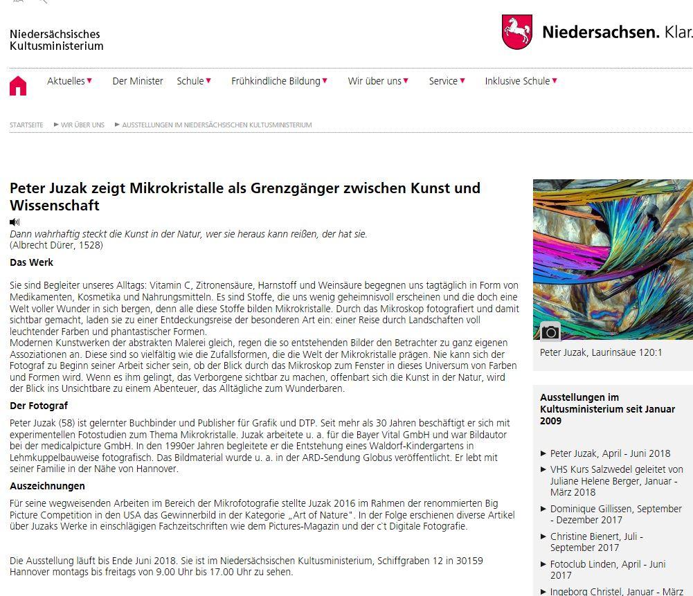 Ausstellung im Niedersächsischen Kultusministerium